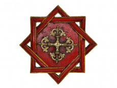 Unendlicher Knoten Wandbehang Holz mit Dorje