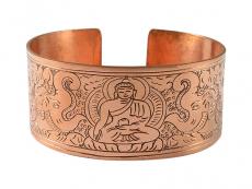 Breiter Kupfer Armreif mit Akshobhya Buddha