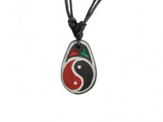 Mani Stein Halskette graviert Yin und Yang
