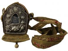 Antike tibetische Ghau Box Medaillon Grüne Tara
