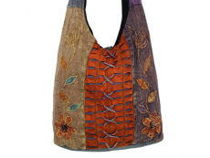 Patchwork Tasche Batik mit Blumen Motiv