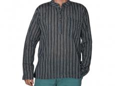 Kurta Hemd gestreift schwarz
