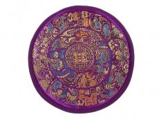 Klangschalenkissen Mandala Satin flach lila 15 cm