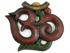 Om Symbol aus Holz - Wandbehang rot