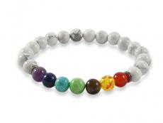 Chakra Armband mit Howlite Perlen