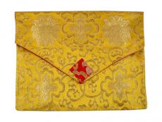 Tibetische Buchhülle Brokat A4 gelb