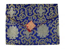 Tibetische Buchhülle Brokat A4 blau