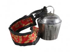 Tibetische Yak Glocke mit Brokatband