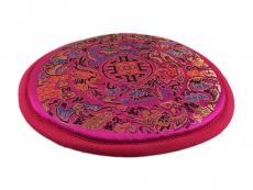 Klangschalenkissen Mandala Satin pink flach 15 cm