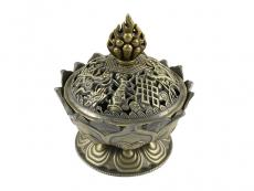 Räuchergefäß Lotus bronzefarbig