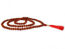 Mala Gebetskette Rudraksha 8-9 mm mit roter Quaste