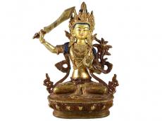 Manjushree Statue - Feuervergoldet 23 cm