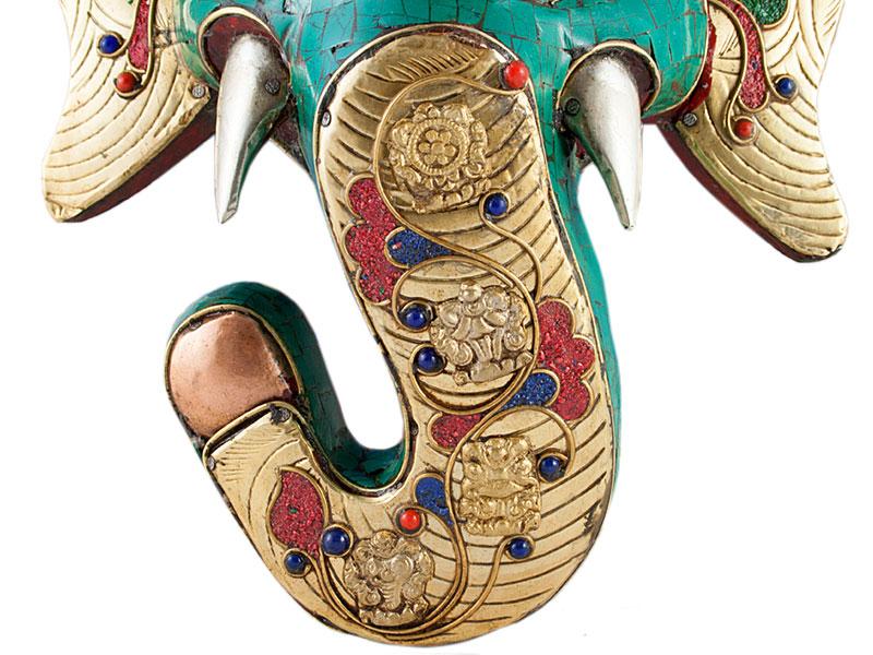Ganesha Maske mit Metallbeschlag und Türkis