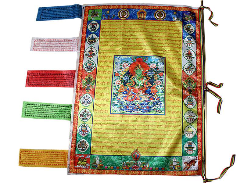 Vertikale Gebetsfahne Grüne Tara