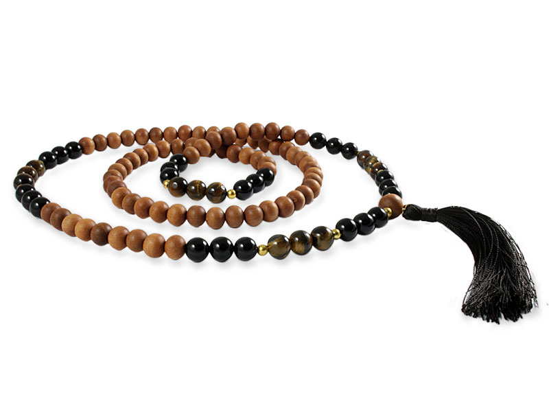 Sandelholz Mala mit Tigerauge und Onyx Perlen