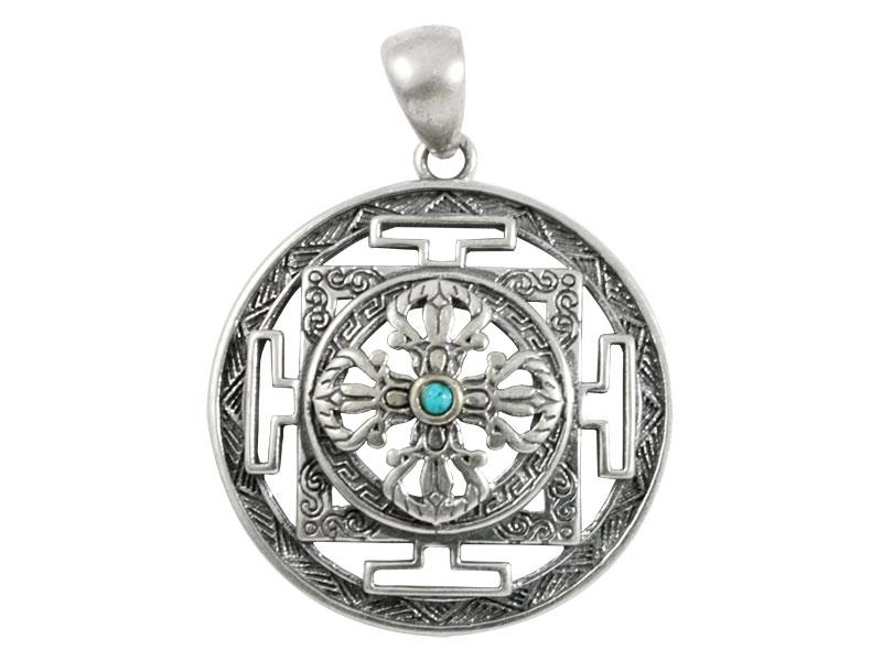 Silber Anhänger mit Kalachakra Mandala und Dorje