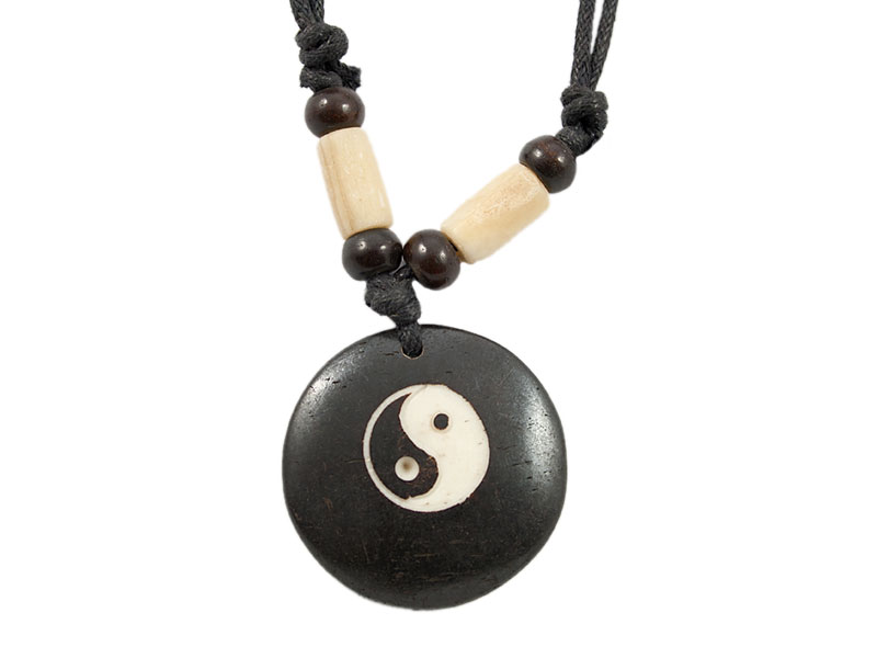 Yak-Knochen Kette mit Yin und Yang