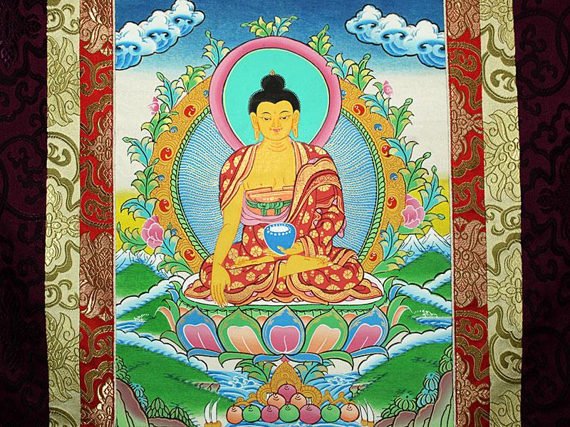 Thangka Rollbild mit Brokatrahmen - Shakyamuni Buddha