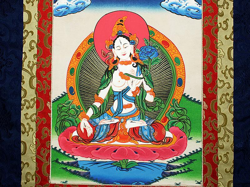 Thangka Rollbild mit Brokatrahmen Weiße Tara