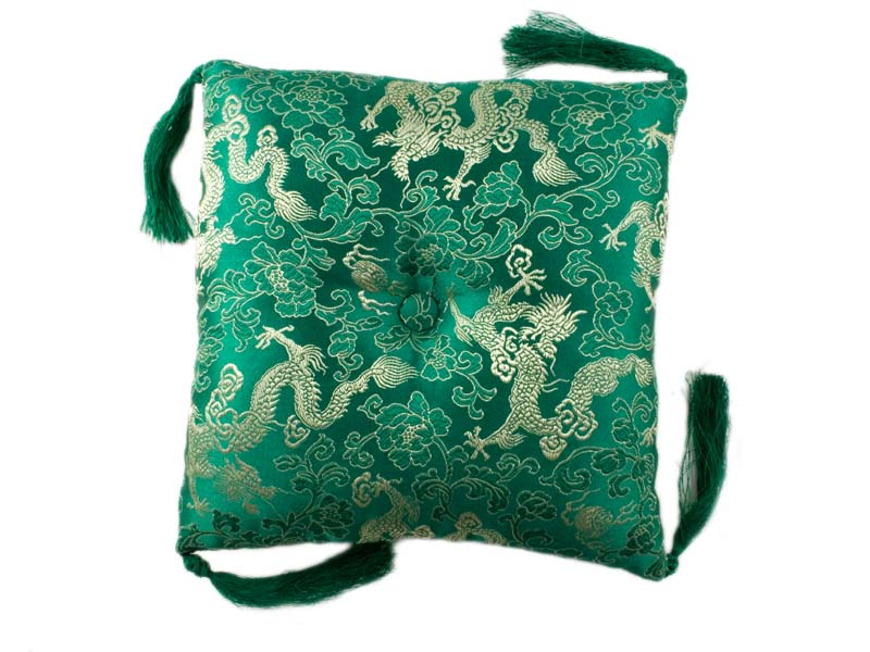 Klangschalenkissen Brokat Drache grün 20 cm