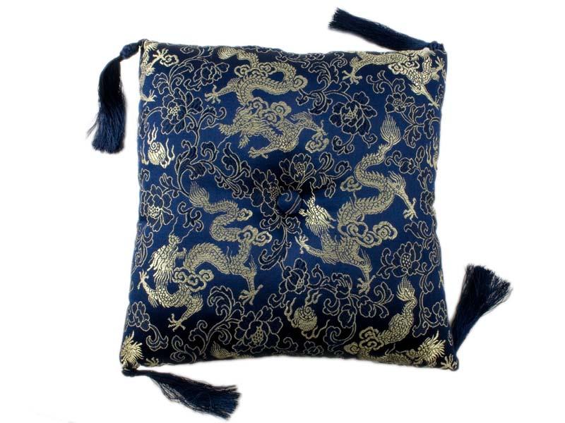 Klangschalenkissen Brokat Drache dunkelblau 20 cm