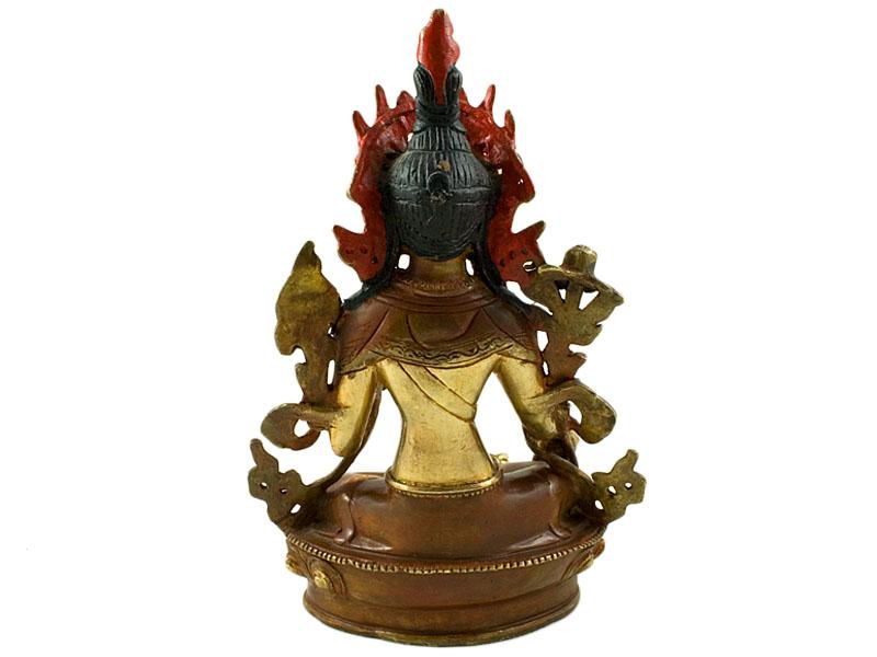 Grüne Tara Statue - Feuervergoldet 22,5 cm