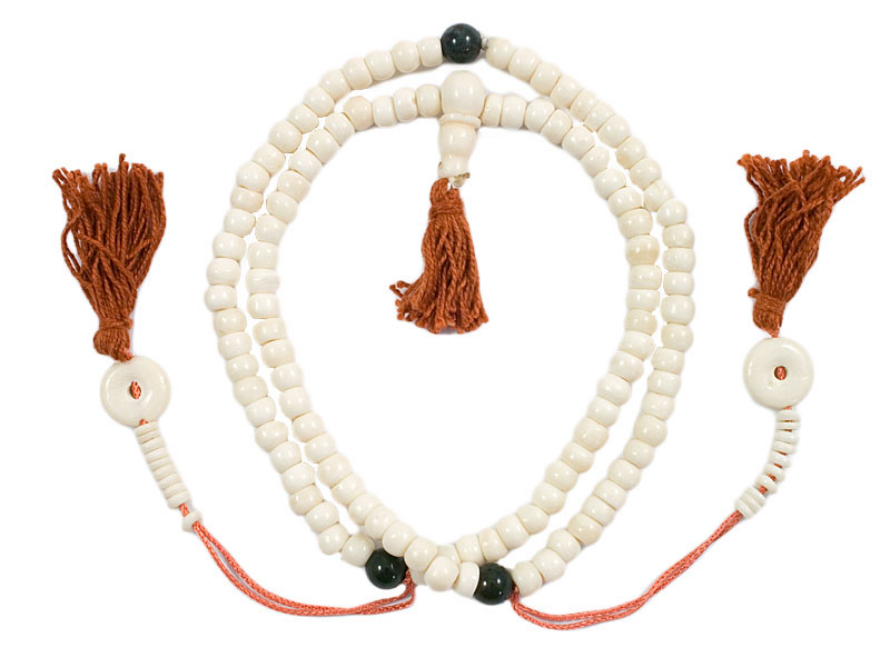 Mala Gebetskette - Knochen Achat weiß 6 mm