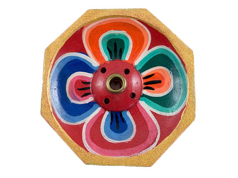 Räucherstäbchenhalter Holz - Lotus bunt 6cm