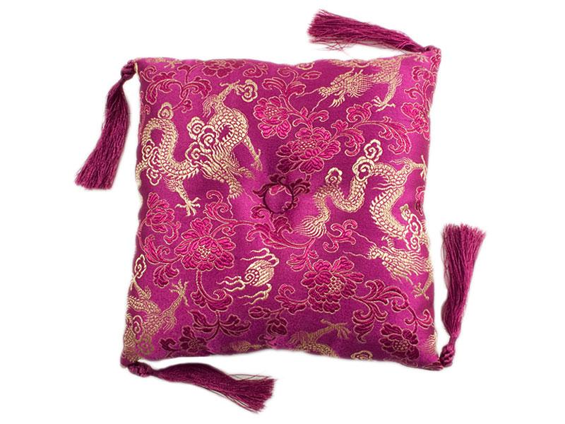 Klangschalenkissen Brokat Drache pink 17 cm