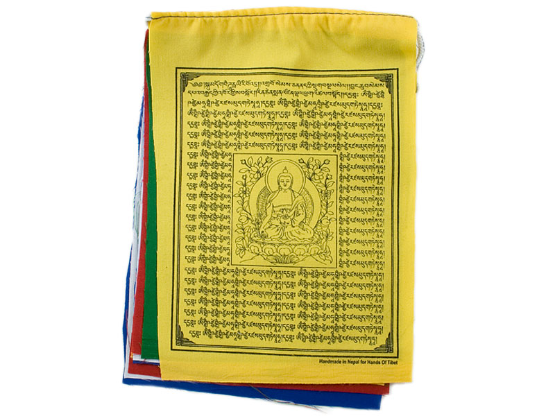 Tibetische Gebetsfahnen - Medizin Buddha mit Mantra