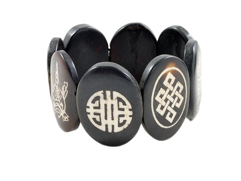 Armband Yak Knochen - 8 Glückssymbole