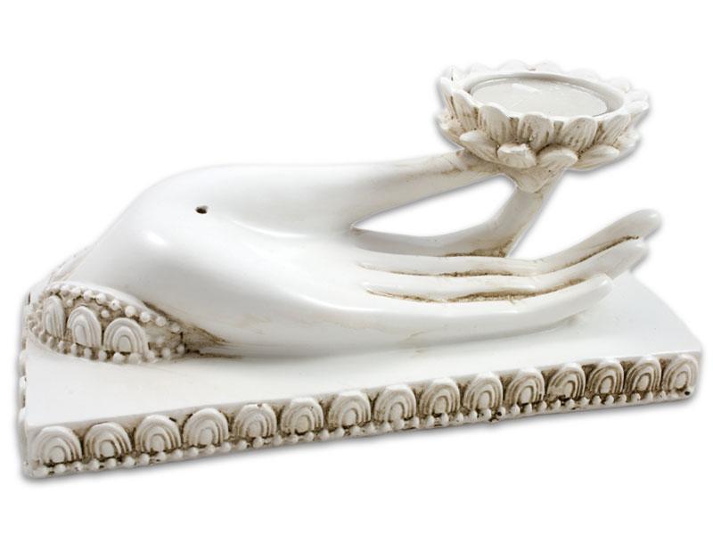 Räucherstäbchenhalter- Buddhas Hand weiß