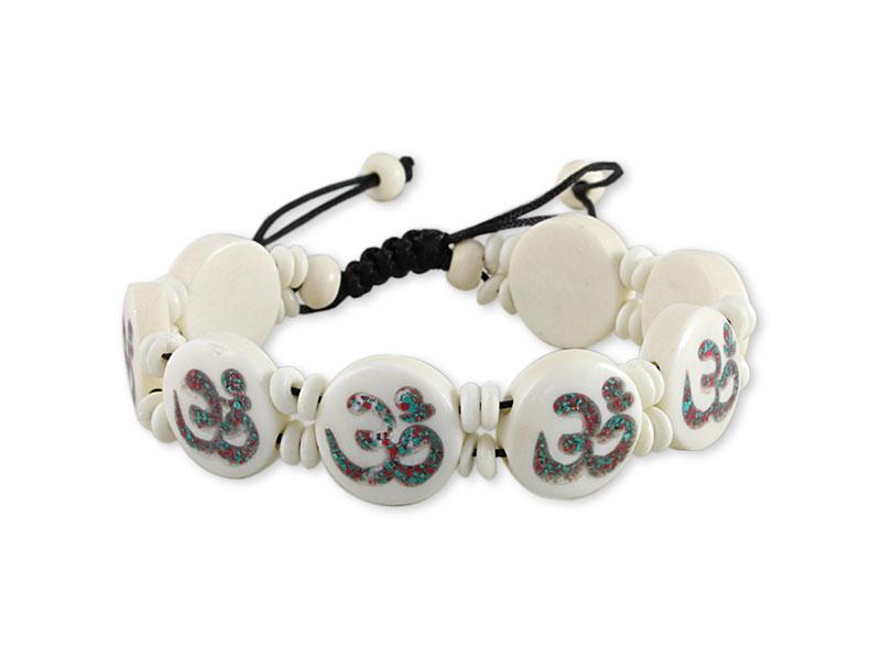 Yak Knochen Armband mit Om Symbol weiß