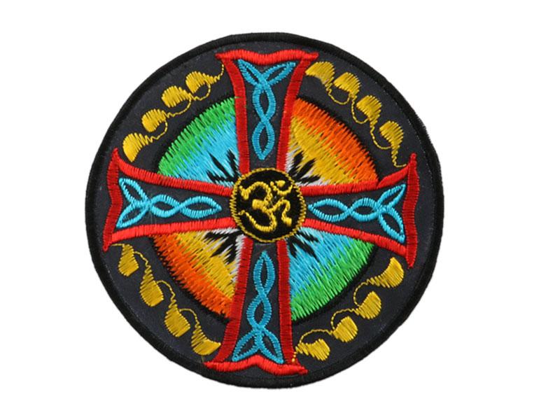 Aufnäher / Patch - Om Aum Symbol mit Kreuz