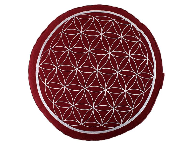 Meditationskissen Blume des Lebens rot
