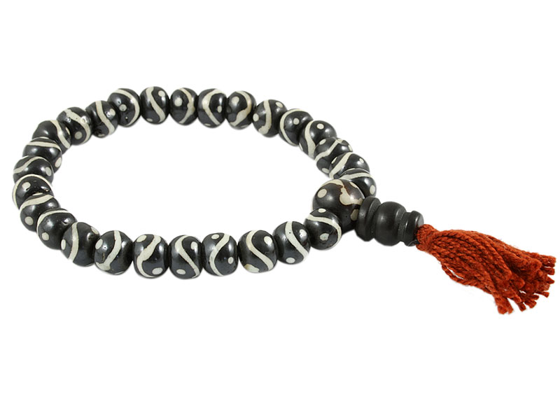 Hand-Mala Knochen Gebetskette Yin und Yang