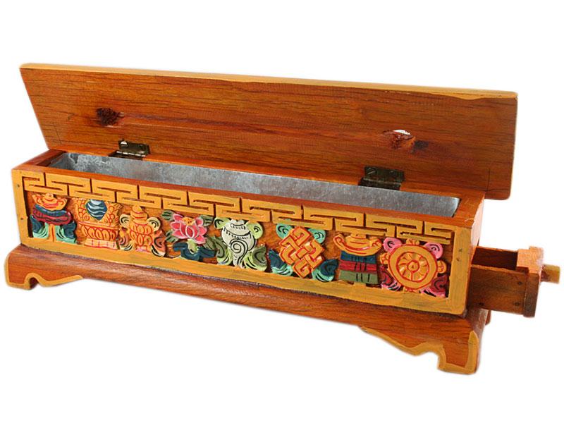 Räucherstäbchenhalter Glückssymbole hellbraun