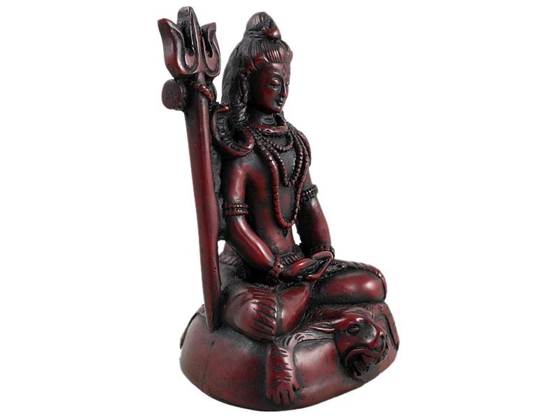 Shiva Statue mit Dreizack dunkelrot 13 cm