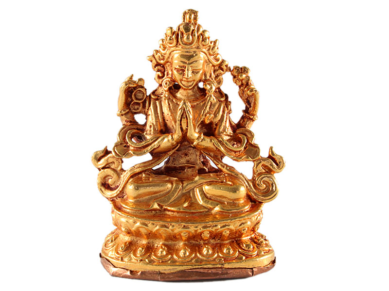 Chenrezig Statue Kupfer vergoldet
