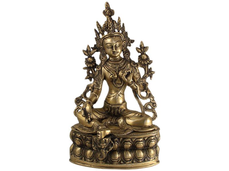 Grüne Tara Buddha Statue Messing 36 cm