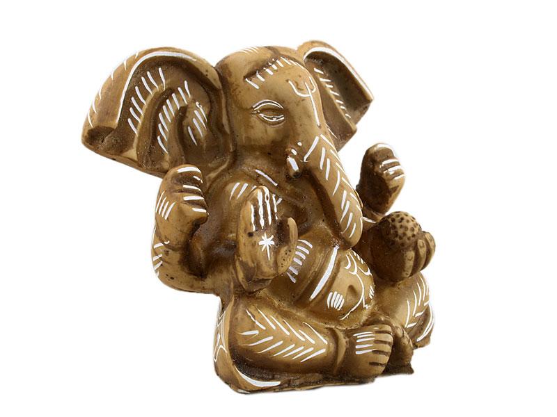 Ganesha Statue 7,5 cm Resin bemalt beige