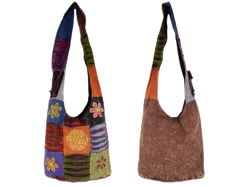Patchwork Schultertasche Batik Blume des Lebens