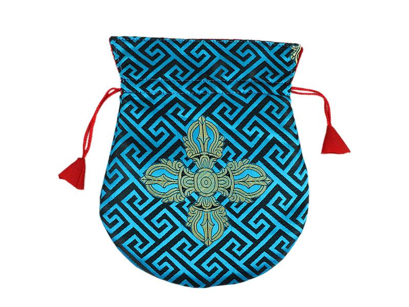 Mala Beutel Thaily mit Doppel Dorje hellblau