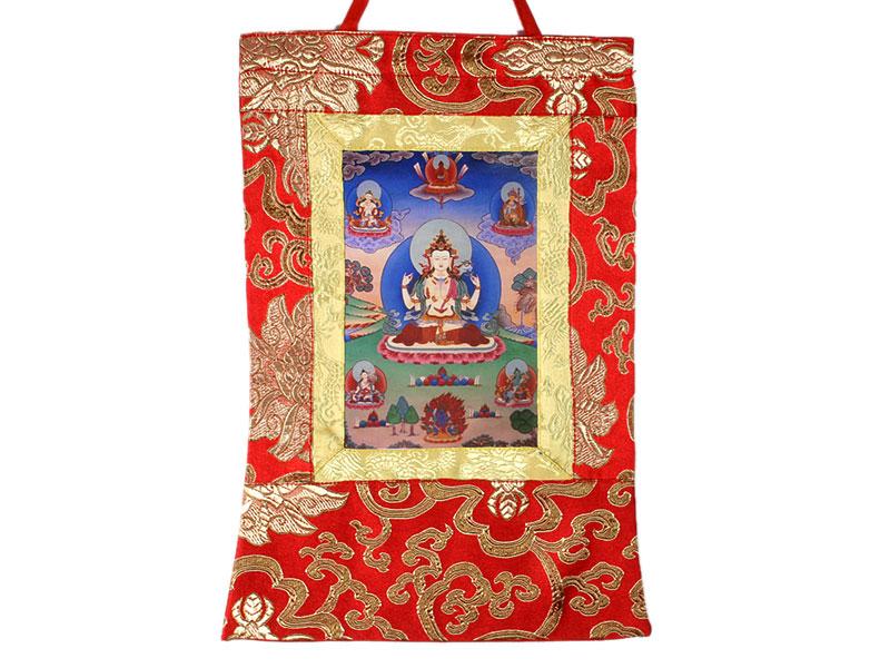 Kleine buddhistische Thangkas mit Buddha Bilder