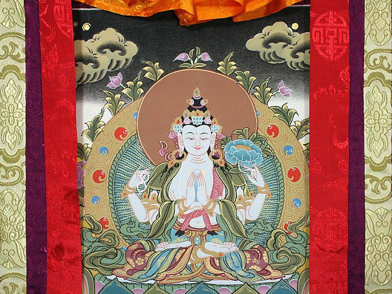 Tibetisches Thangka mit Chenrezig