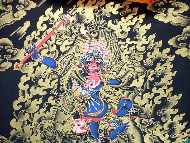 Tibetisches Thangka Dharmapala Palden Lhamo