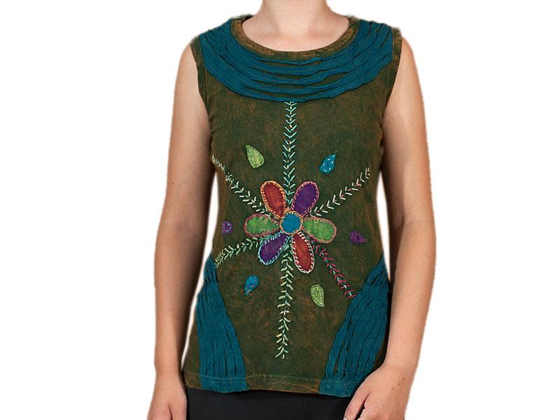 Goa Patchwork T-Shirt mit Blumen Stickerei grün