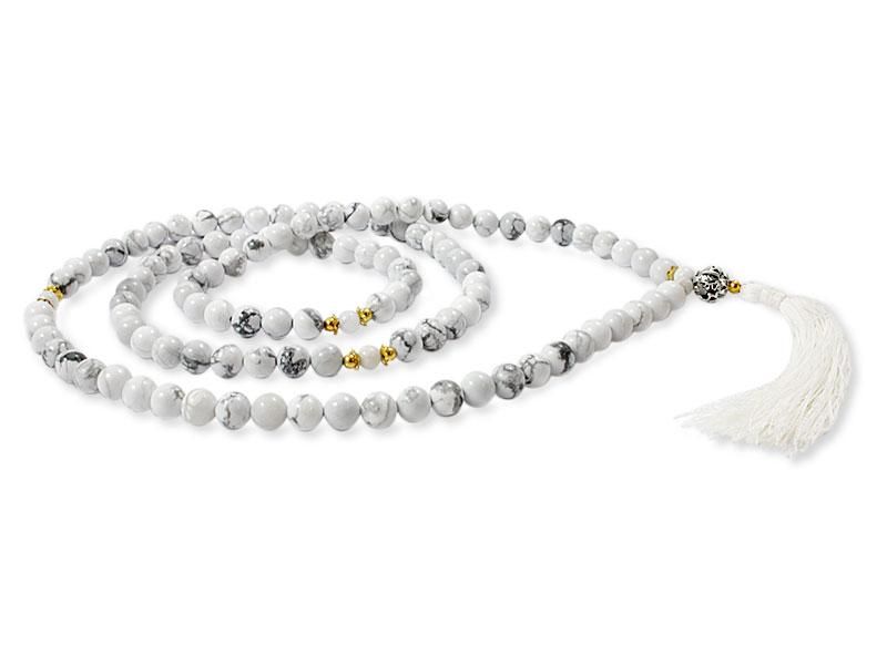 Howlite Mala mit weißen Conch Shell Perlen
