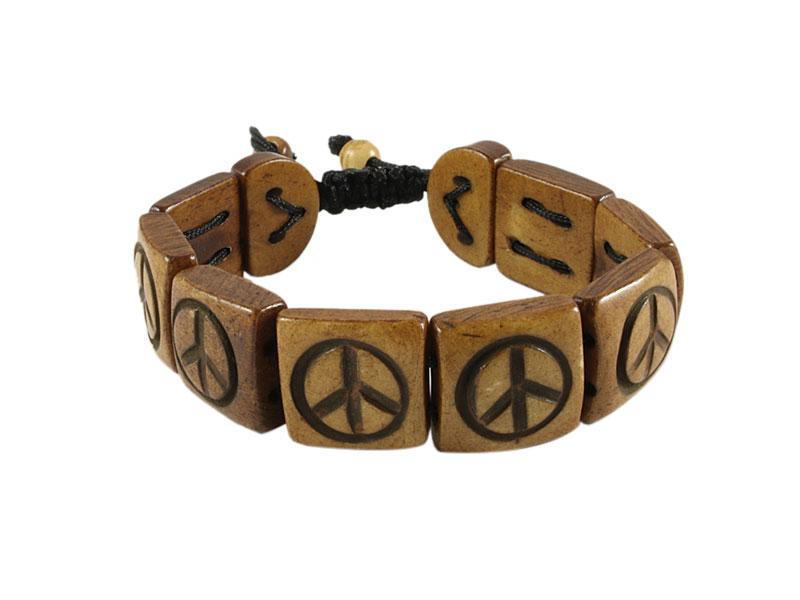 Armband Yak Knochen mit Peace Symbol