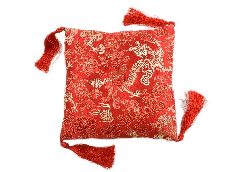Klangschalenkissen Brokat Drache rot 15 cm